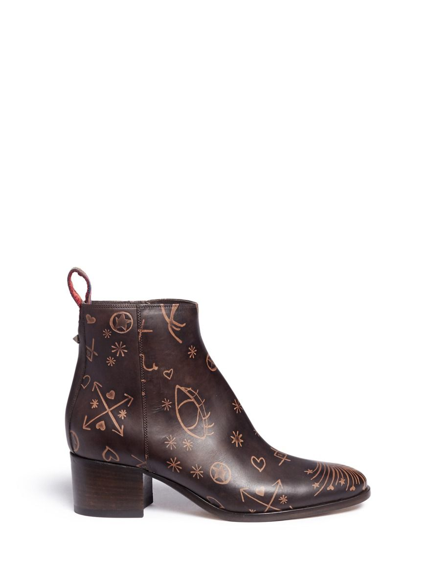 Valentino Woman Embossed Leather Ankle Boots Dark Size 36 FOzNwibK7