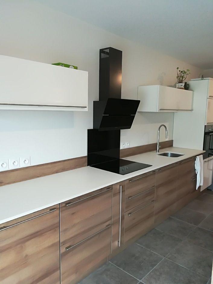 Cuisine bois plan de travail dekton blanc meuble haut laque blanc