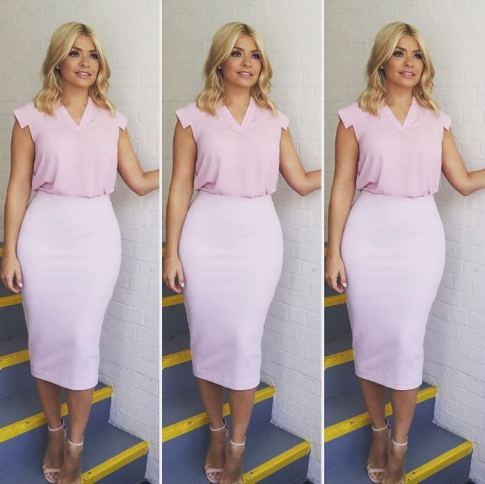 Holly Willoughby channels Barbie in figure-hugging pink outfit with matching…