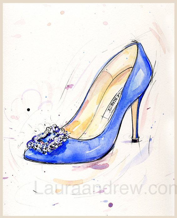 83ba77a3ad4 Fine art SHOE PRINT of blue Manolo Blahnik shoes by LauraAndrewArt ...