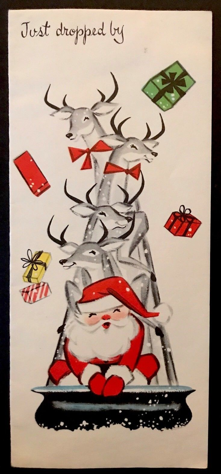 Vintage Christmas Card Greeting JUST DROPPED BY Santa Reindeer Sled ...