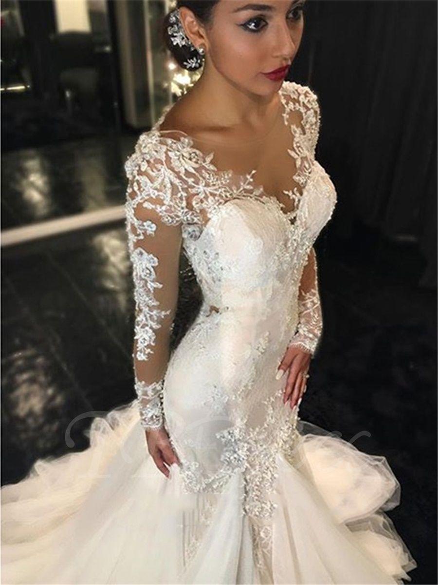 Appliques mermaid wedding dress with long sleeve mtbdress