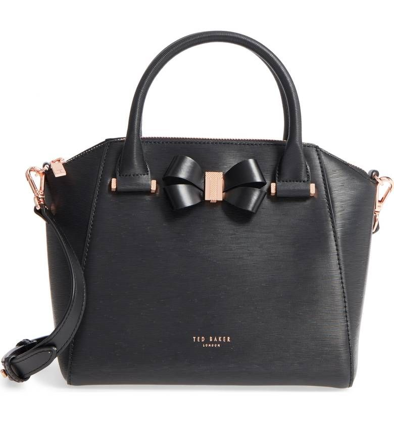 Ted Baker Charmea Small Leather Bow Tote In Black And Rosegold Hardware Holiday 2017 279