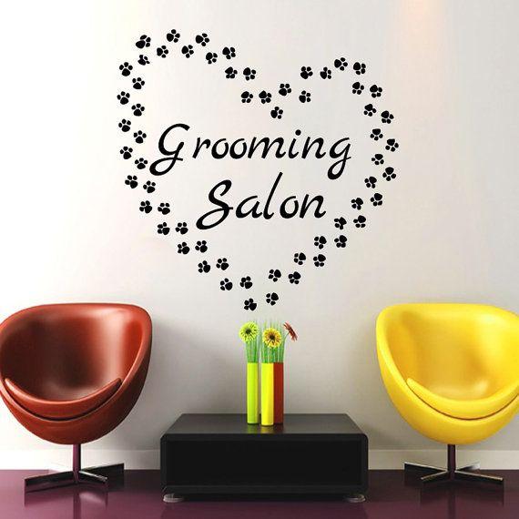 Wall decals petshop grooming salon traces of dog heart decal vinyl sticker home bedroom decor - Le salon de toilettage petshop ...