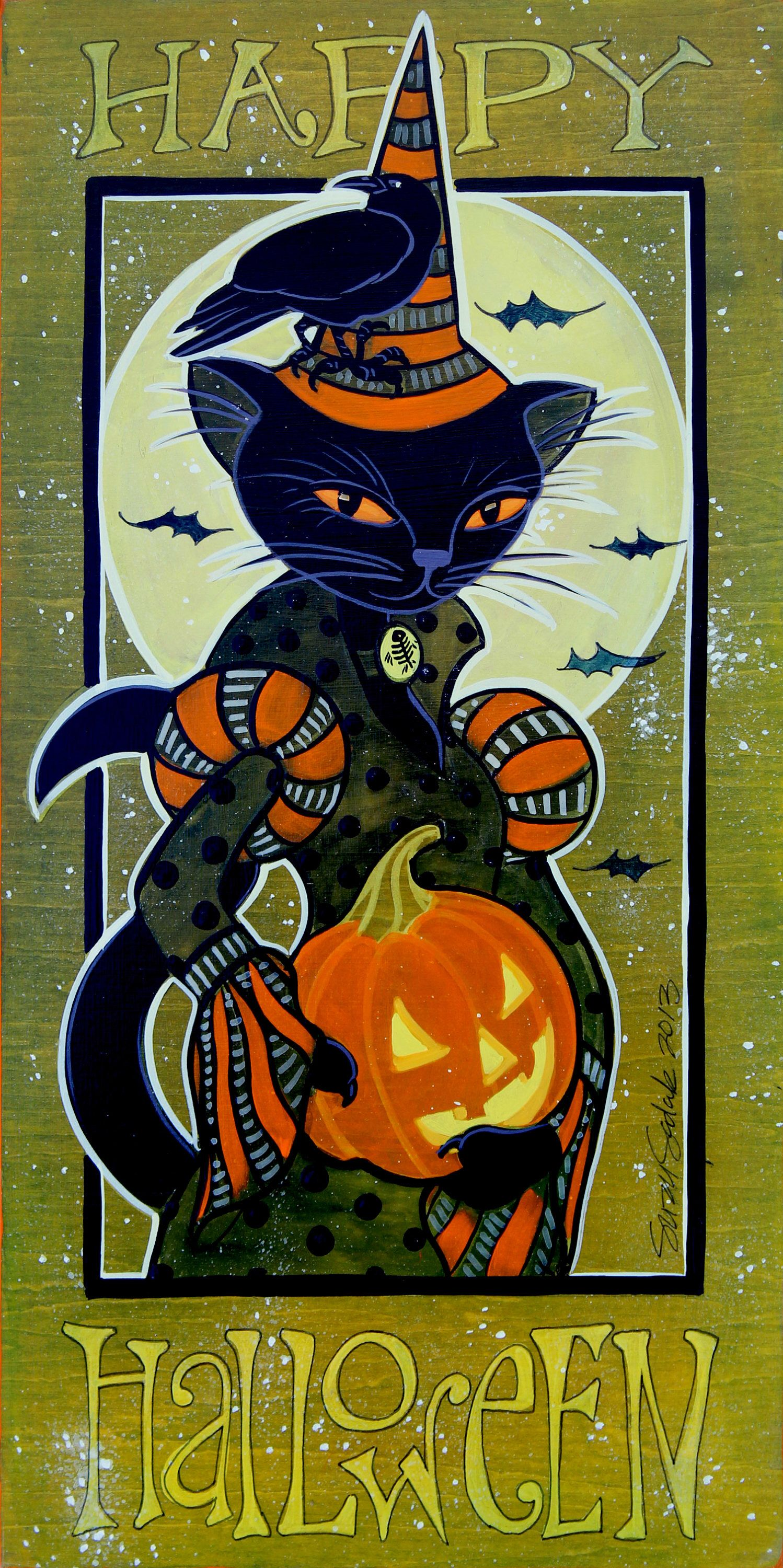 Witchy Cat original Halloween acrylic painting