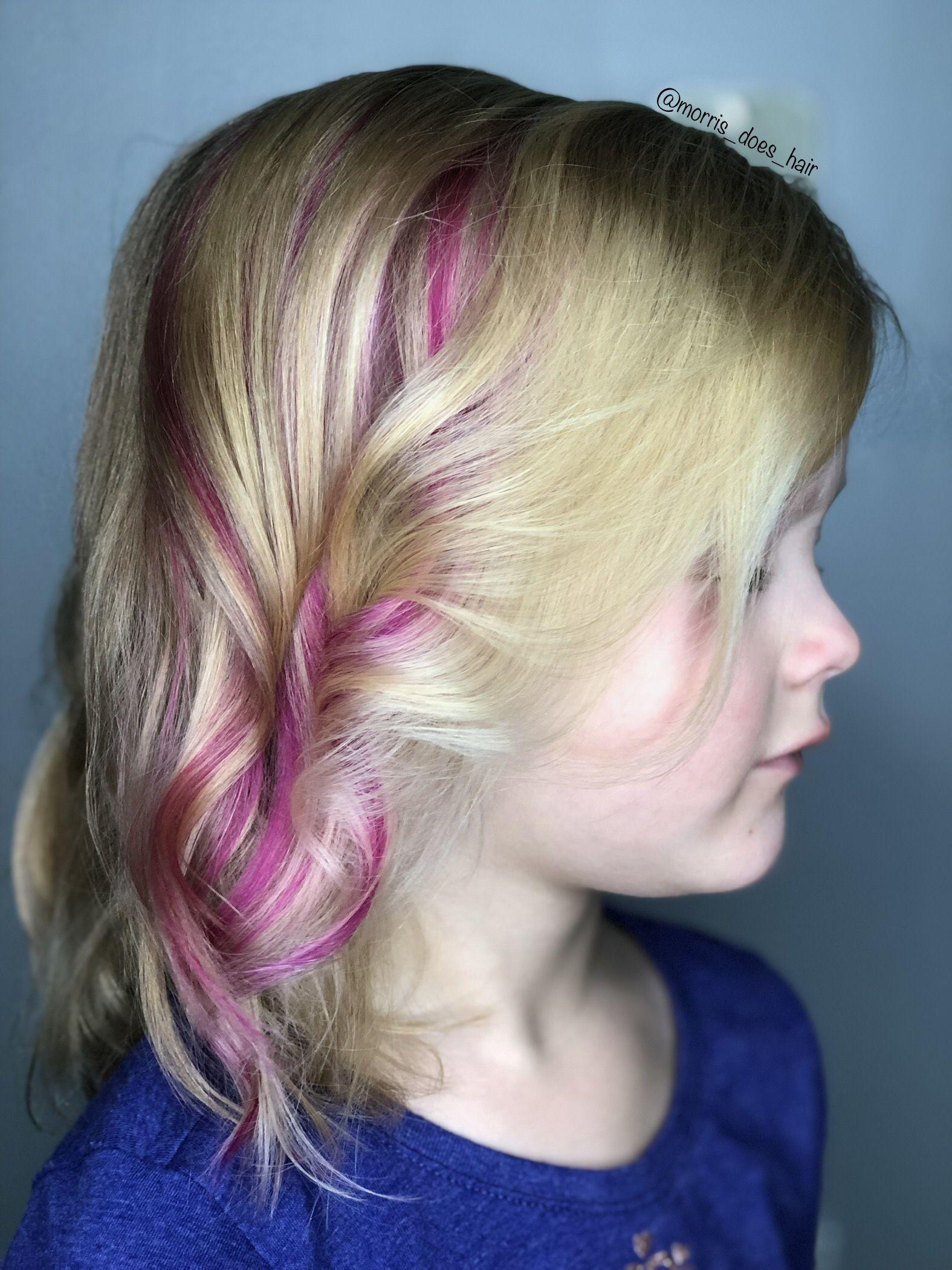 A Pop Of Pink For A Cute Little Girl Pink Hair Hair Hair Styles