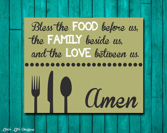 Dinner Blessing Bless The Food Family Blessings Wall Decor Dining Room Art Christian Kitchen Home