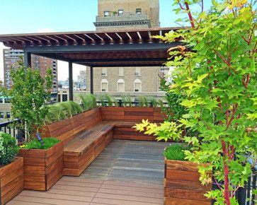 Nyc Custom Roof Deck Ipe Metal Pergola Ipe Bench Planters Deck Modern Deck New York By Am Roof Garden Design Home Garden Design Deck With Pergola