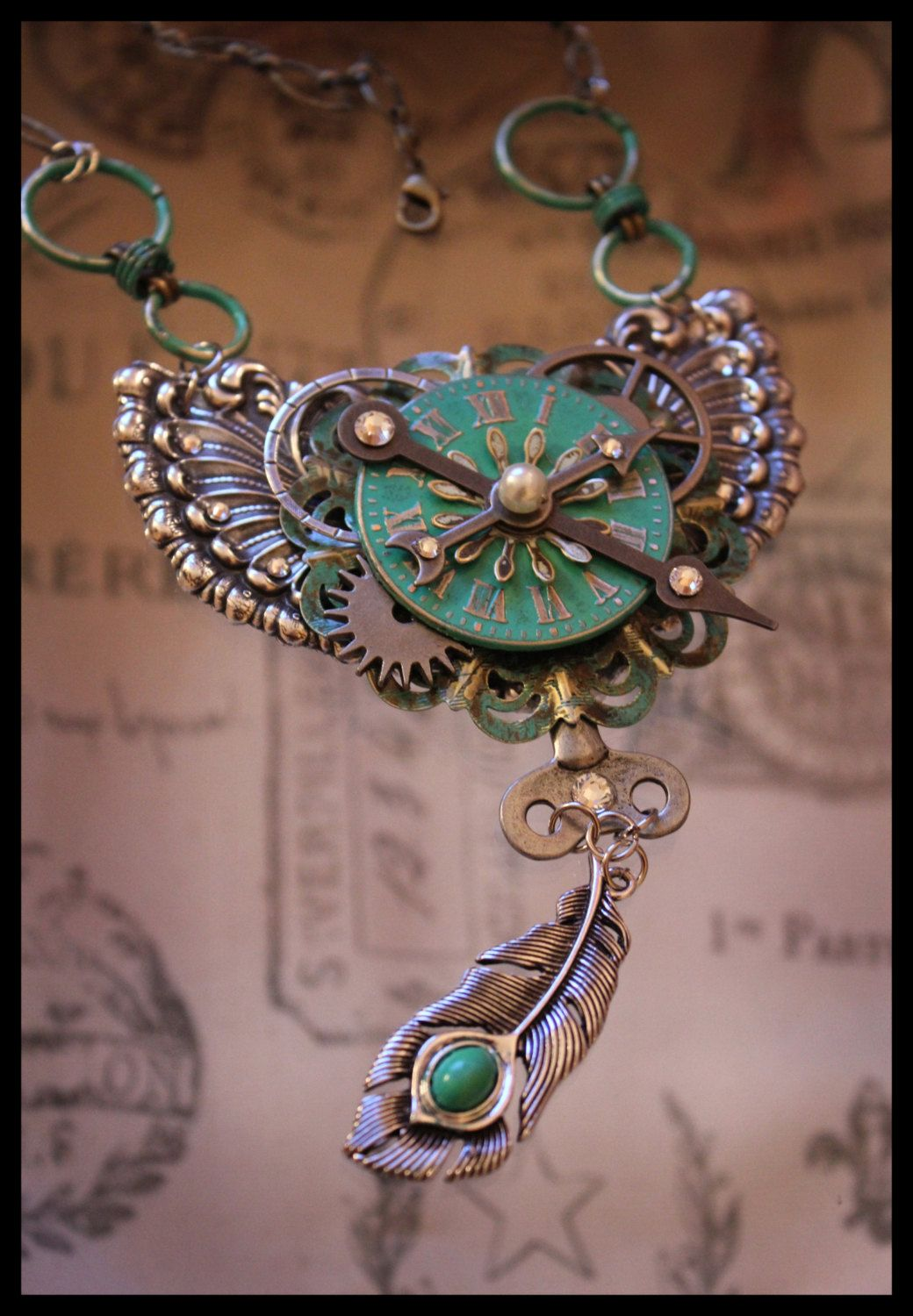 Steampunk Necklace  Peacock Inspired by AngelaVenArtwork on Etsy