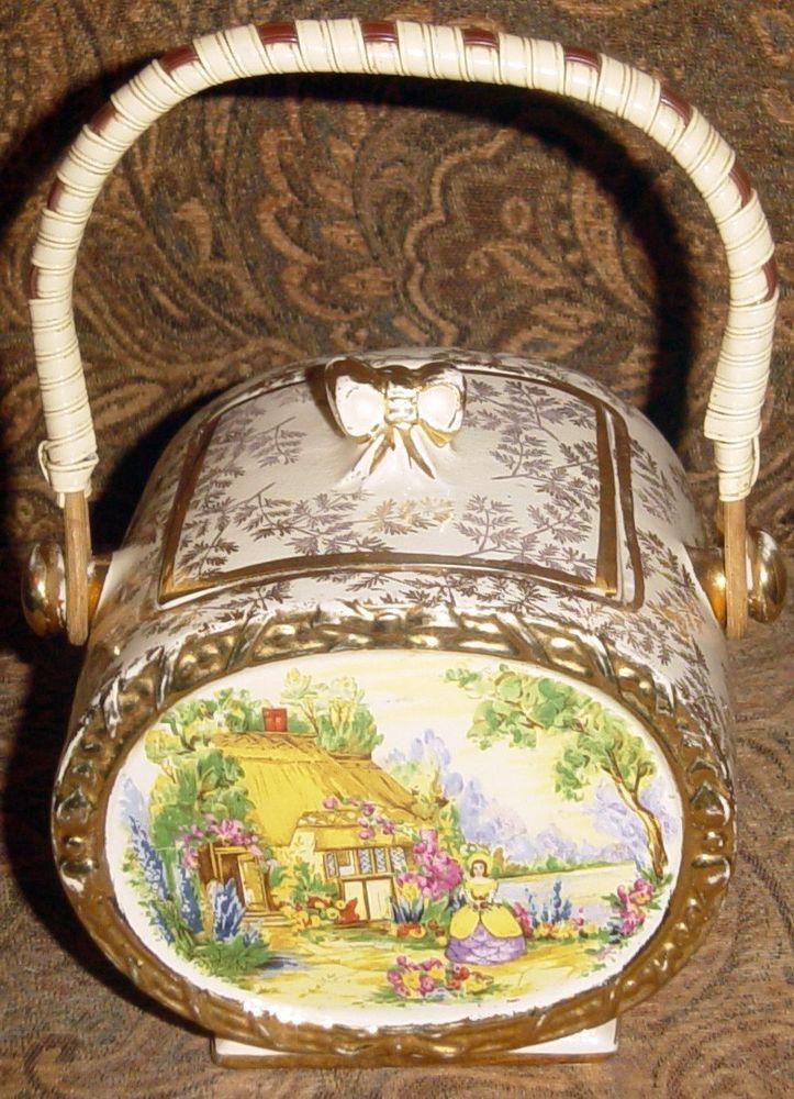 vintage sadler  1878 crinoline lady biscuit barrel made in