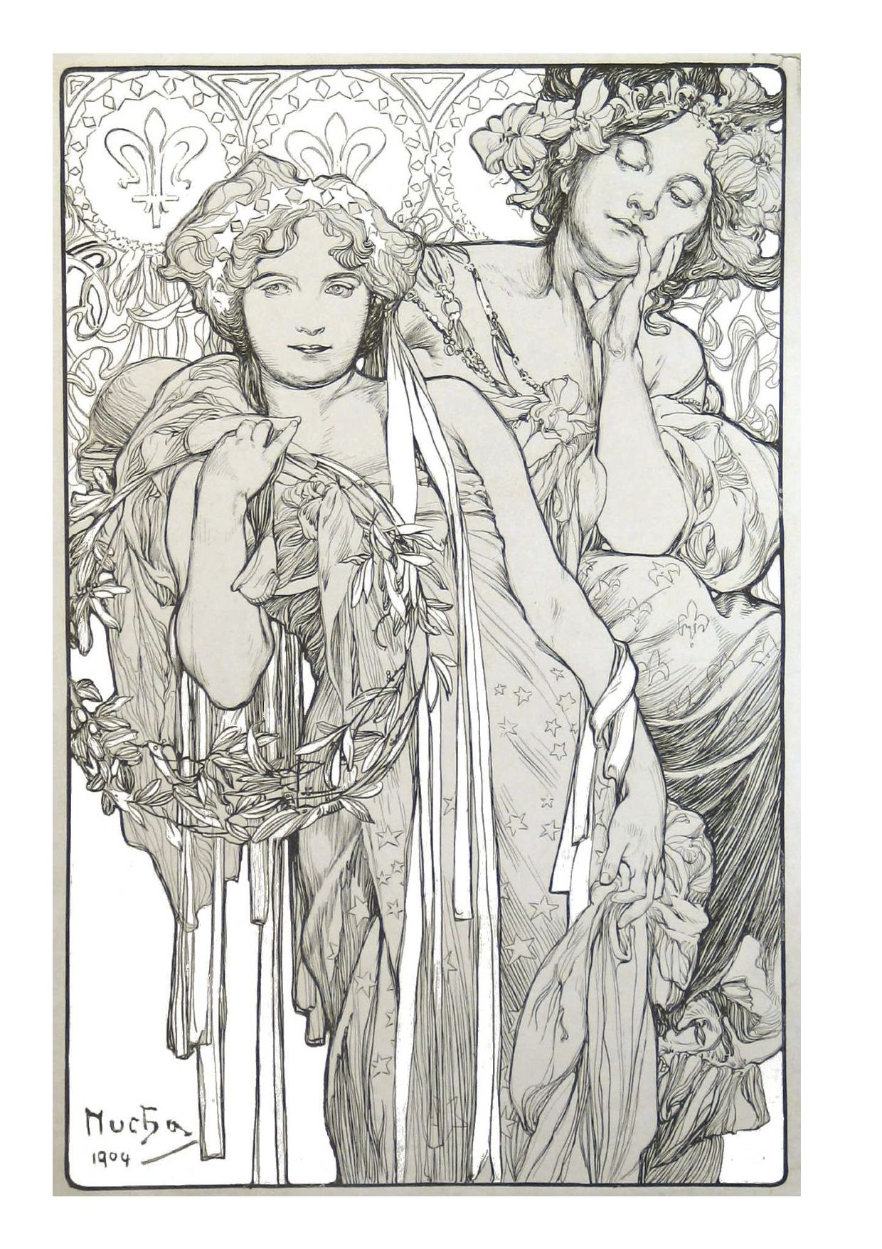 alphonse mucha coloring pages alphonse mucha coloring drawing
