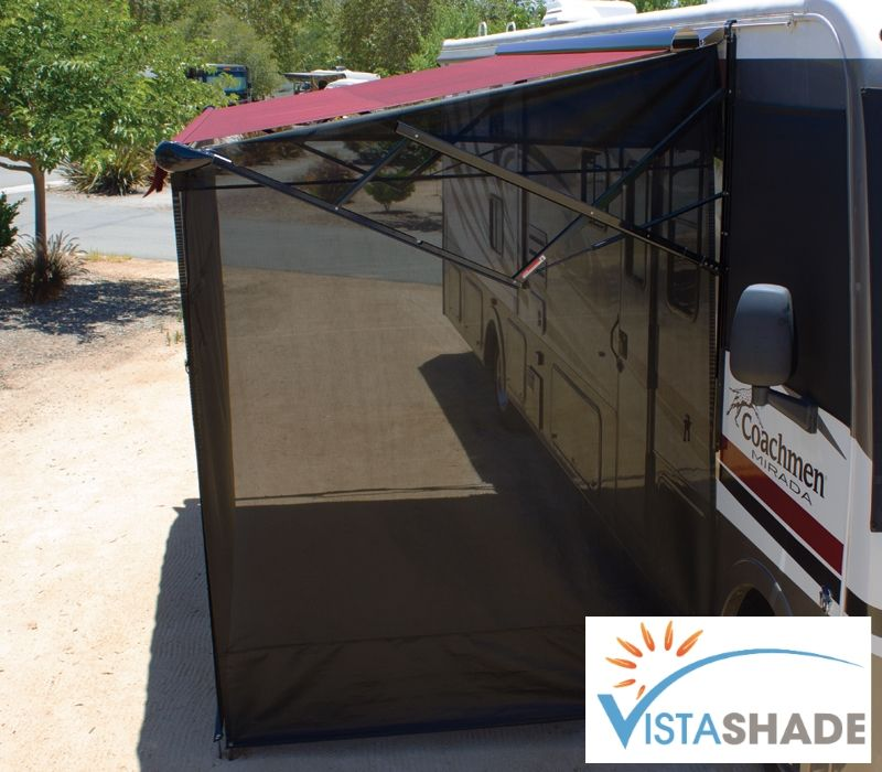 Vista Shade End Panel Easily Attach To Awnings From The Ground Camper Awnings Trailer Awning Rv Awning Ideas