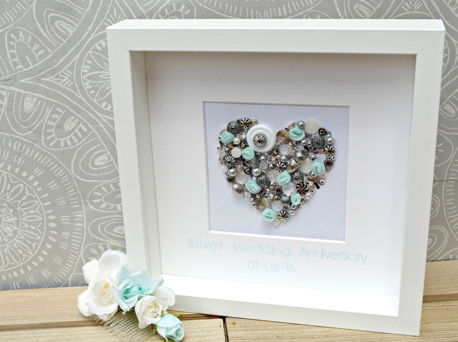 Silver Wedding Anniversary Gift. Sequin And Bead Heart