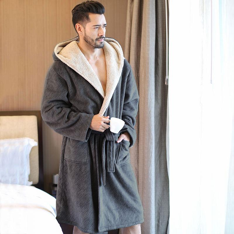 Details about  /Winter Warm Bathrobe Men/'s Bathrobe Nightgown Soft Coral Velvet Hooded Bathrobe