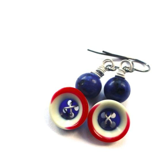 Red White and Blue Vintage Button Earrings  by buttonsoupjewelry, $8.00