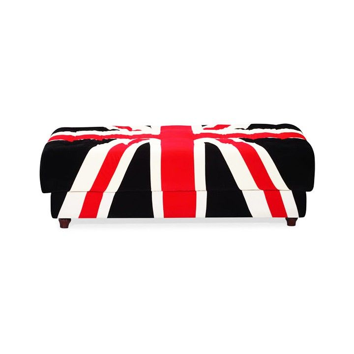 DIY inspiration-The Union Jack design makes this otherwise traditional tufted ottoman a stunner. Place it in a corner for extra seating or make it the statement centerpiece or coffee table in the living room. Made from comfortable microfiber and tufted for an elegant, sophisticated club look, the Union Jack Entertainment Ottoman brings the cool back into modern Britannia style.