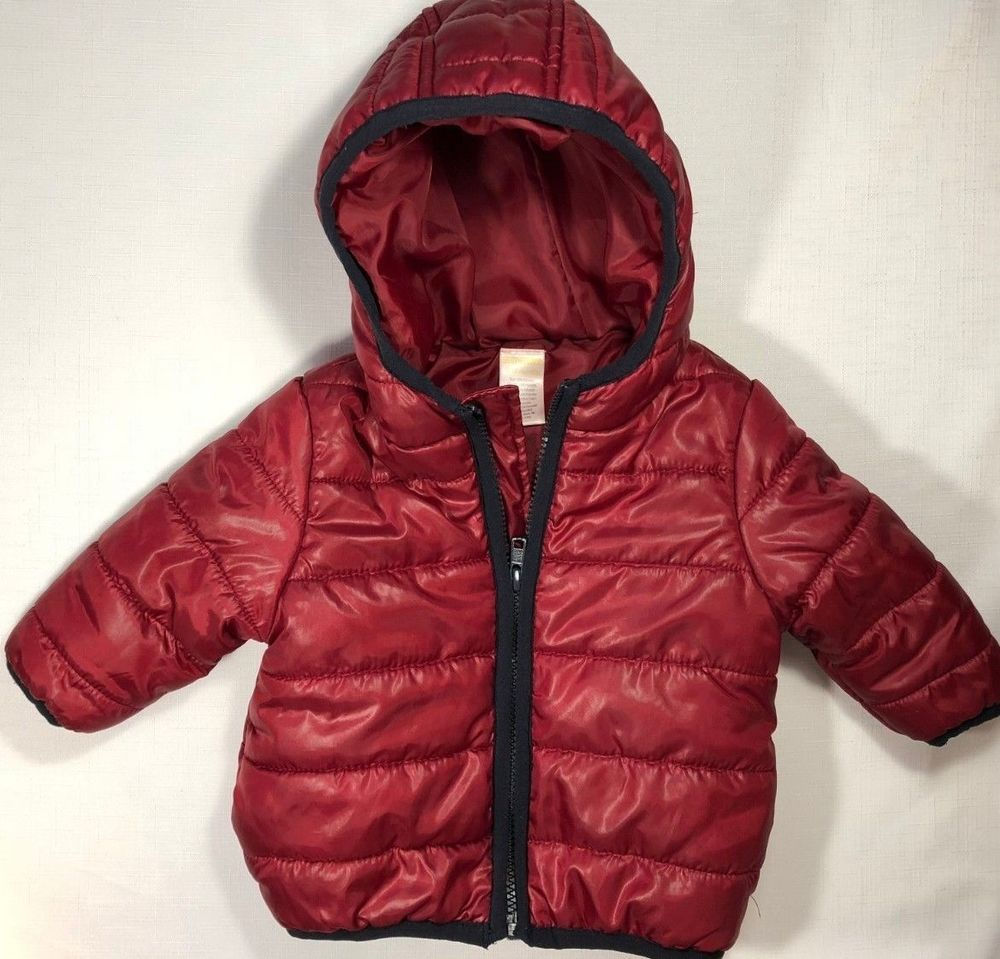 007f972cb Gymboree Boys 6-12 Months Maroon Red Hooded Puffer Jacket Coat ...