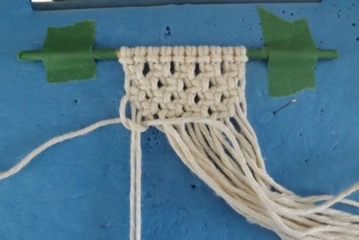 Alternating Square Knots made with Kitchen String