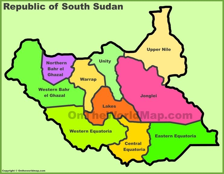South Sudan states map