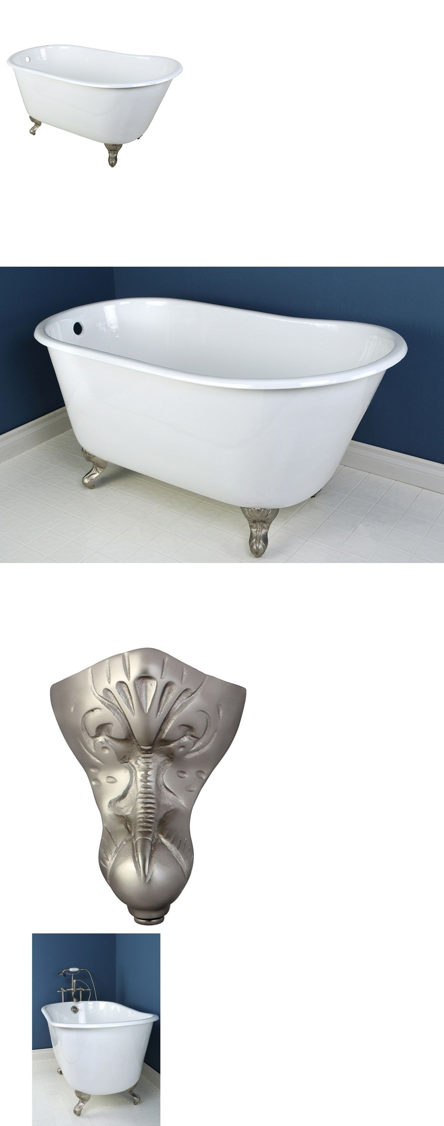 Bathtubs 42025: 53 Small Cast Iron White Slipper Clawfoot Bathtub ...