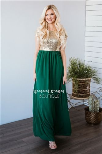 Jewel Green And Gold Sequin Modest Bridesmaids Dress