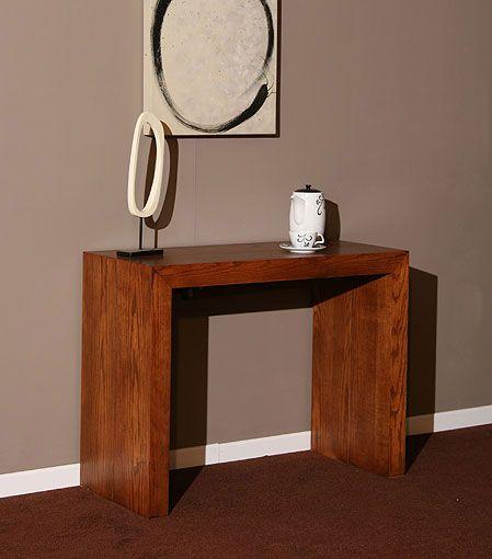 Mesa consola kubika con 5 extensibles material madera de for Mesas de salon extensibles de madera