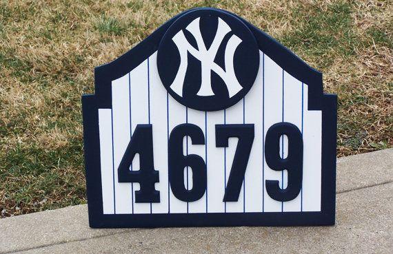 New York Yankees Address Sign Custom Wood Decor New York Etsy In 2020 Address Sign New York Yankees House Address Sign