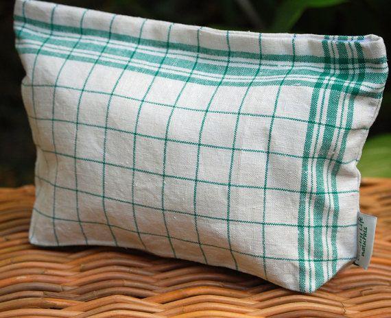 Large Vintage Linen Tea Towel  Lunch-Sandwich Bag Lined-Green