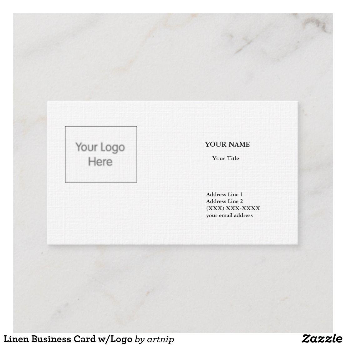 Linen Business Card W Logo Zazzle Com Linen Business Cards Photo Business Cards W Logos