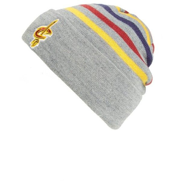 Mitchell & Ness 'Cleveland Cavaliers' Stripe Knit Hat ($24) ❤ liked on Polyvore featuring men's fashion, men's accessories, men's hats, grey, mens beanie caps, mens hats, mens beanie hats, mens grey beanie and mens beanie