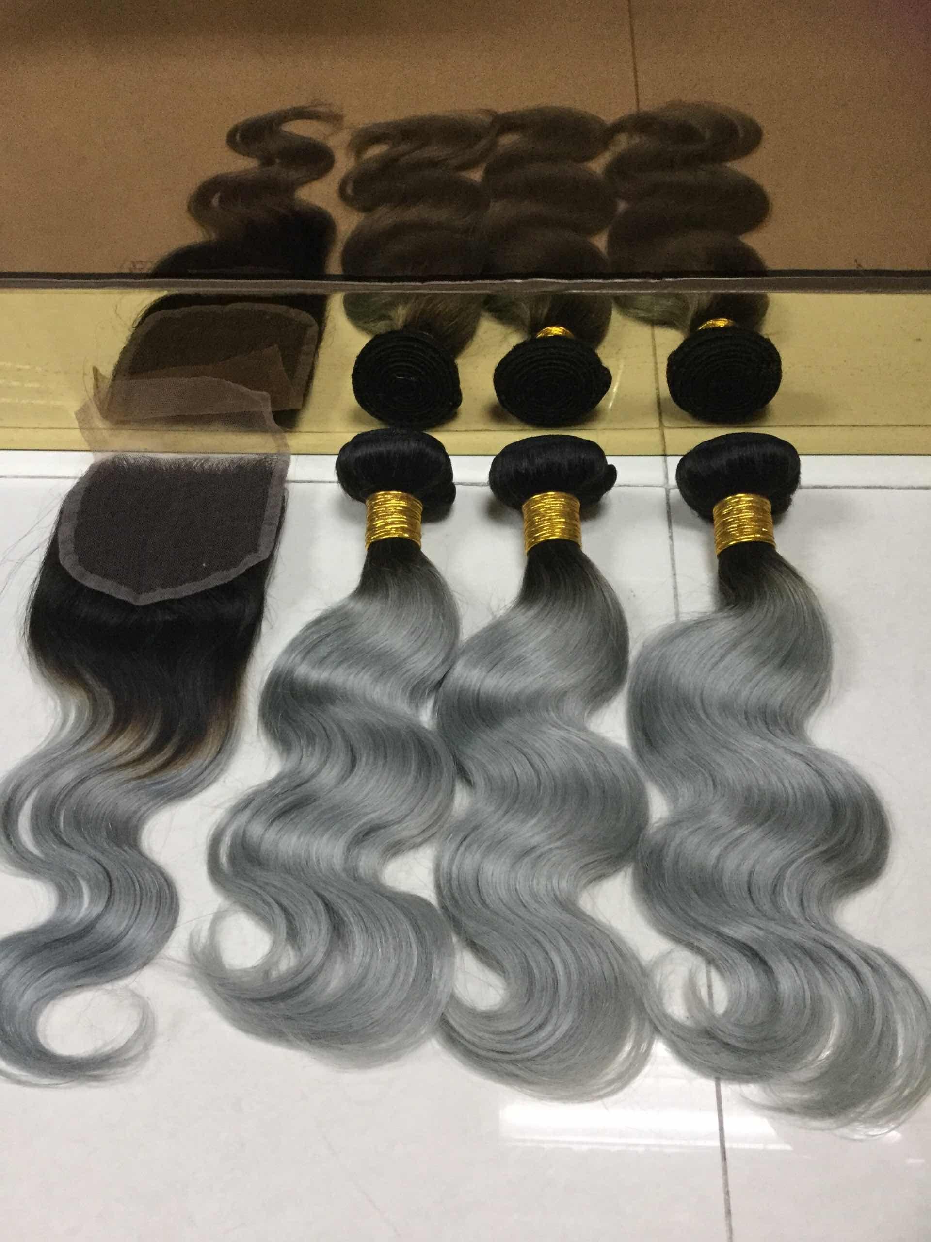 Sew In Human Hair Weave Ombre Hairgrey Human Hair Weavingcan Be
