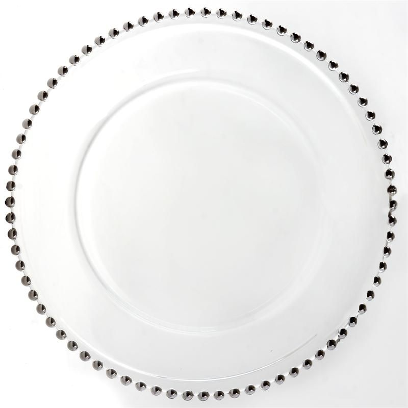 8 Pack 12 Round Silver Beaded Glass Charger Plates Glass Charger Plates Glass Charger Silver Beaded Glass Charger Plates