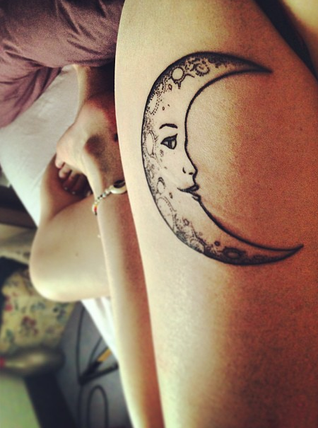 art ink leg leg tattoo tattoo moon mond tattoos. Black Bedroom Furniture Sets. Home Design Ideas