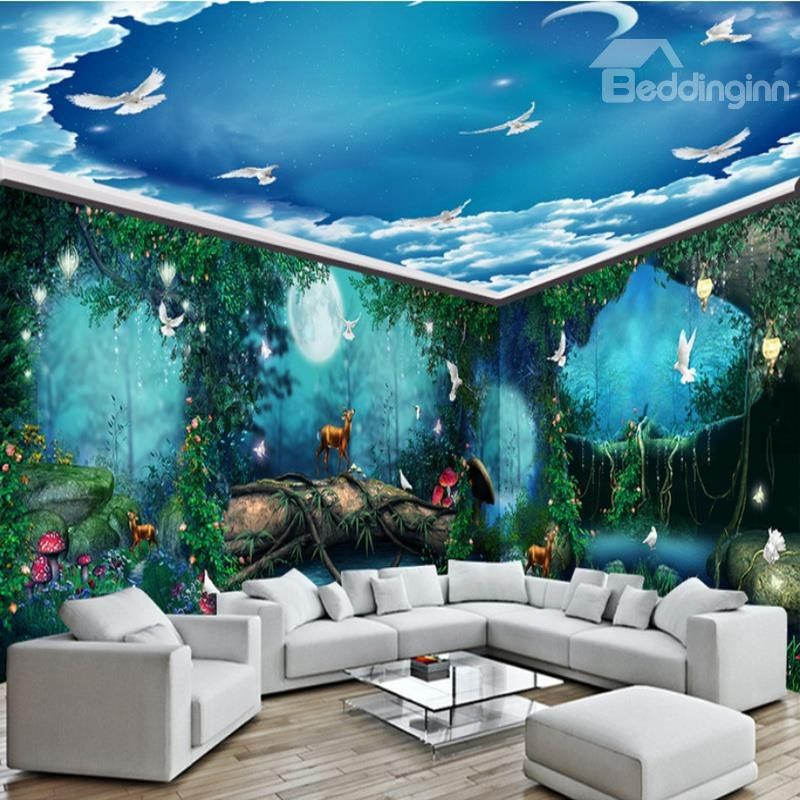Dreamy Forest Night Scenery And Blue Sky Pattern Combined