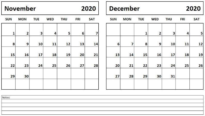 Printable November December 2020 Calendar With Notes Printable Calendar Template Calendar Printables Calendar Template