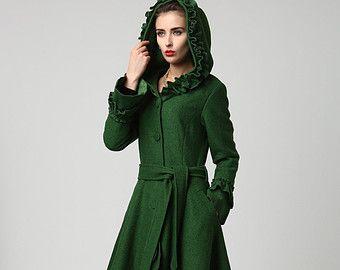 Winter Coat women Coats Green Wool Coat womens coats by xiaolizi ...