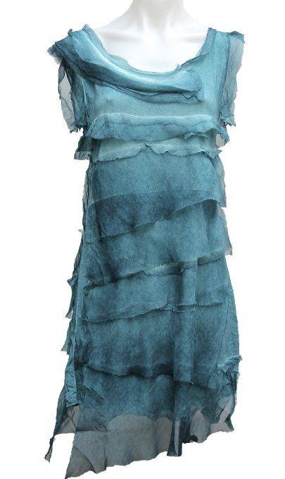 Amazon com: Terra Nomad Women's Italian Layered Silk Dress w