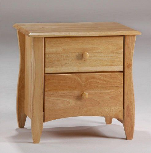 Contemporary Nightstand in Natural Finish w Two Drawers