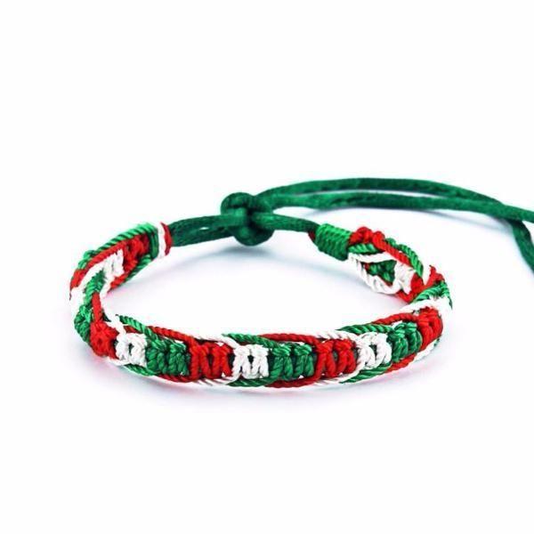 479bbfda6159 Mexico National Flag Macrame Bracelet  Set of 10