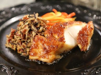 Miso Black Cod with Dirty Shiitake Wild Rice