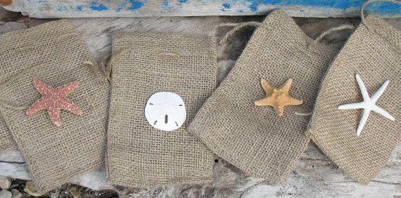 Beach Weddings Burlap Favor Bag With Sand By Seashellsbyseas 15 00