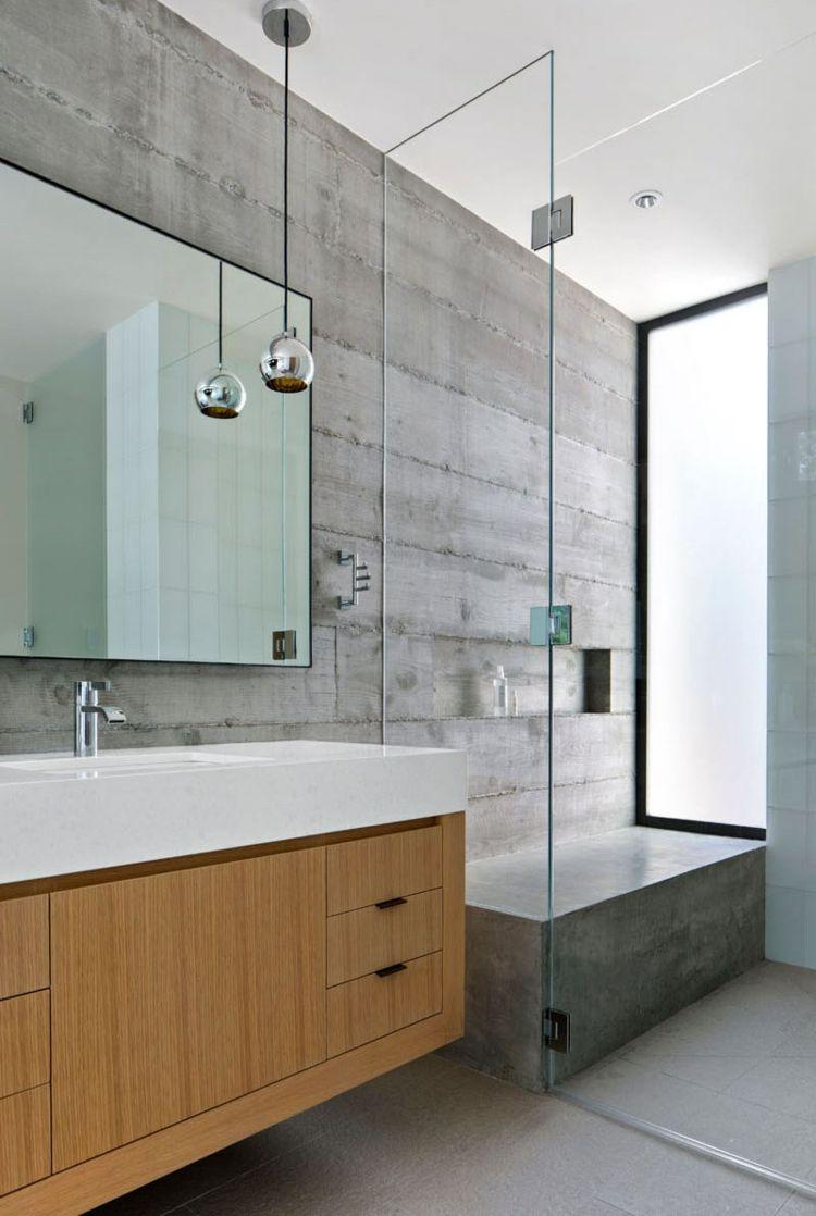 Beton Wand Und Helles Holz Fur Einrichtung Und Fassade Eines Hauses Badezimmereinrichtung Badezimmer Design Modernes Badezimmer