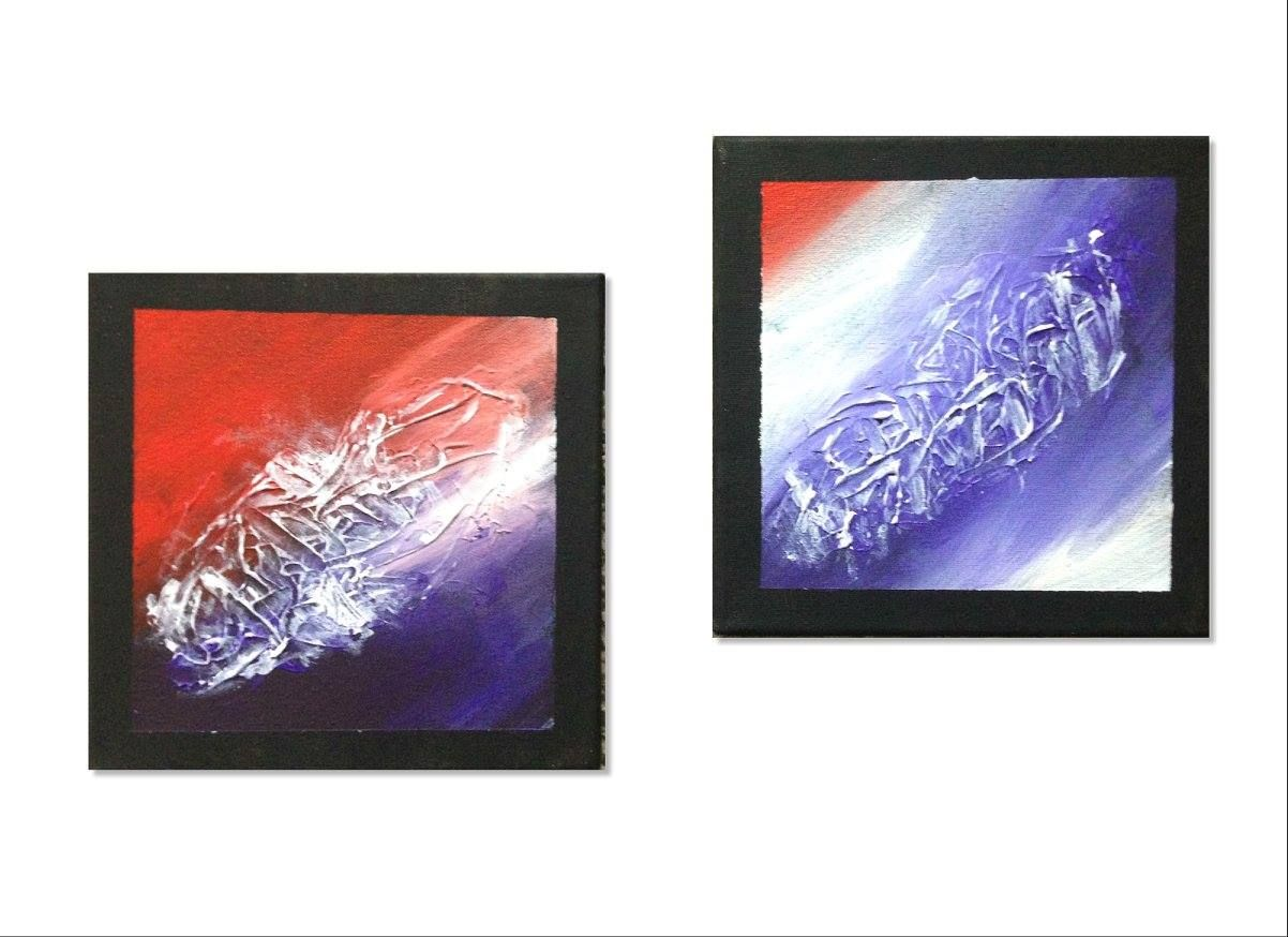 Abstraktes Acrylbild 2 Teilig In Den Farben Rot Violett Weiss