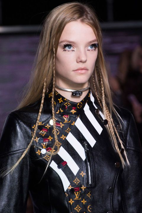 micro braids perfect with this season's collections include more black leather and buttoned-up collars than ever before. At Louis Vuitton (left), thin, peek-a-boo braids added subtle texture (think of them as grown-up versions of the hair wraps we all got on vacation as kids), while Proenza Schouler, Céline and Public School showed h