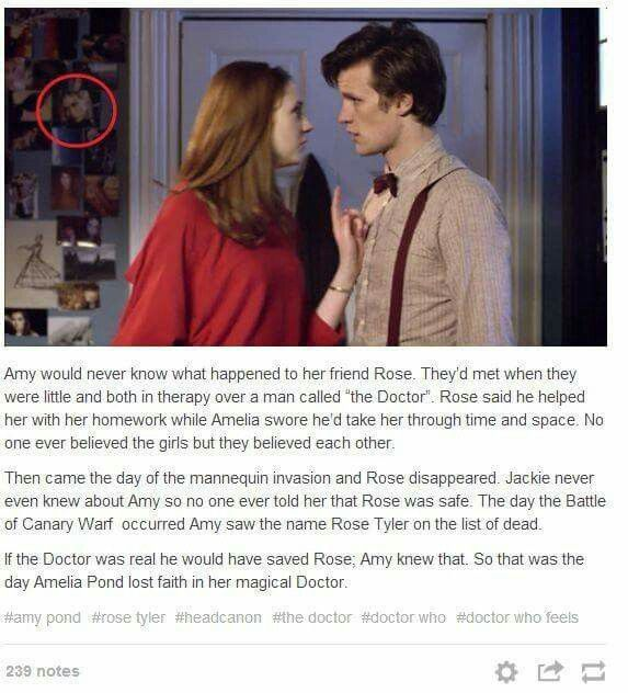 Holy cow, I never noticed that photo of Rose Tyler on Amy Pond's wall! What a cool piece of headcanon.