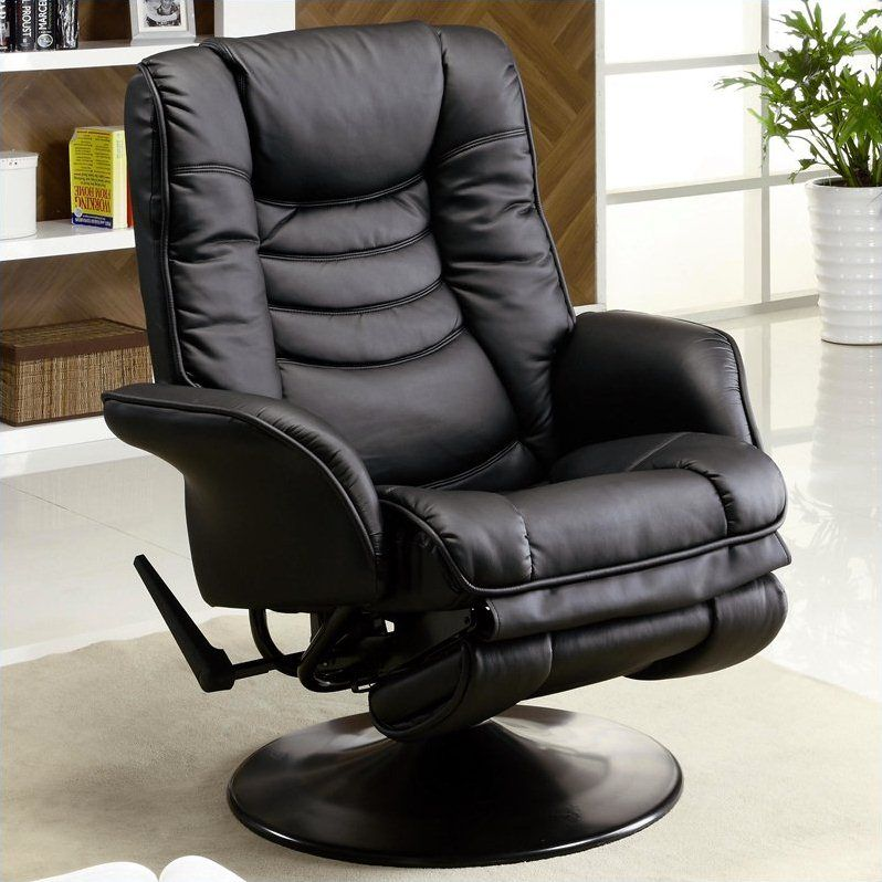 Strange Coaster Faux Leather Swivel Recliner In Black Reclining Short Links Chair Design For Home Short Linksinfo