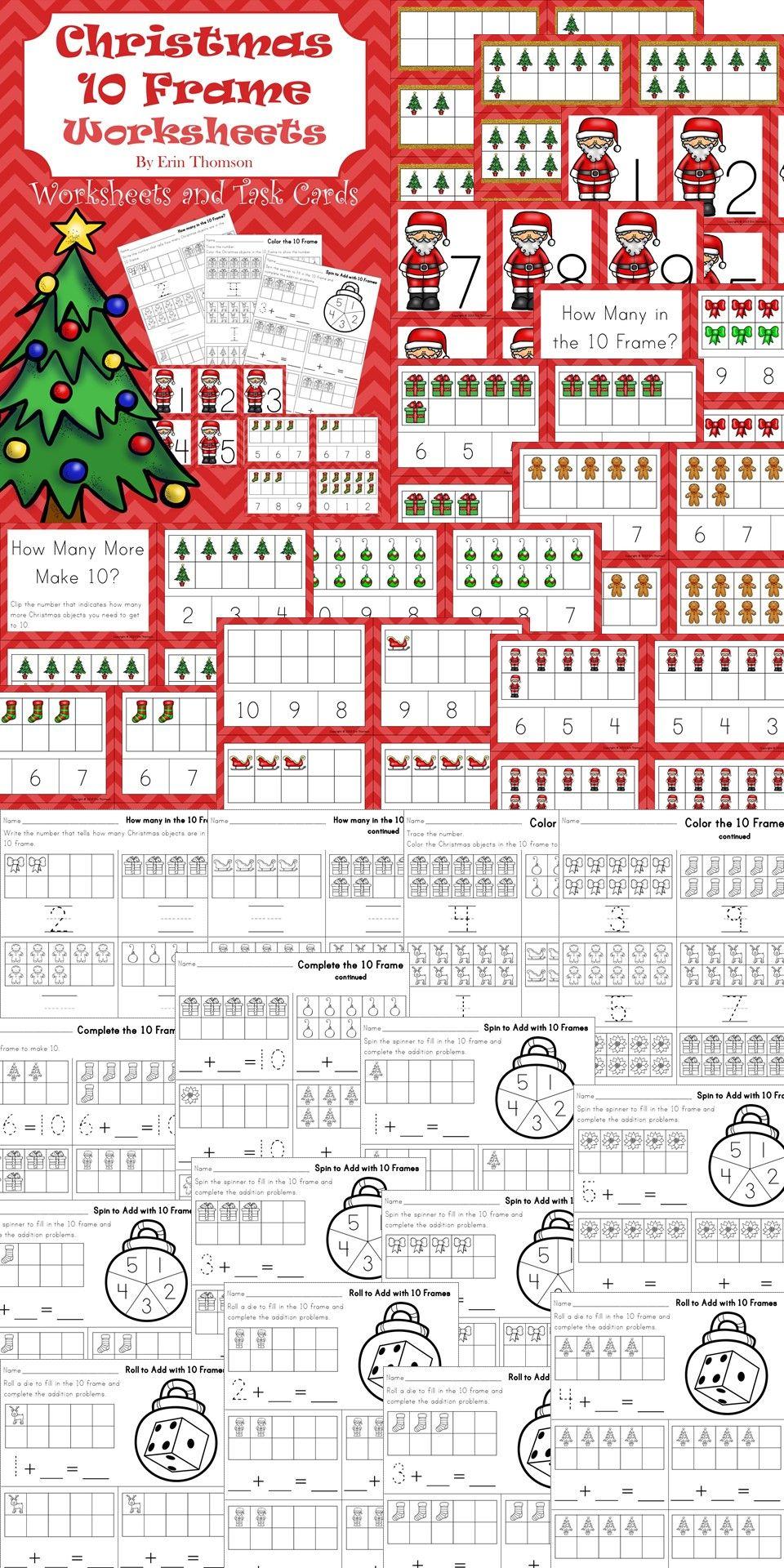 Christmas 10 Frames ~ Worksheets and Task Cards | Worksheets ...