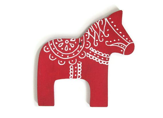 Red Dala Horse Ornament With White Hand Painted Designs Swedish Wood Christmas Ornament Wood Christmas Ornaments Hand Painted Ornaments Swedish Christmas