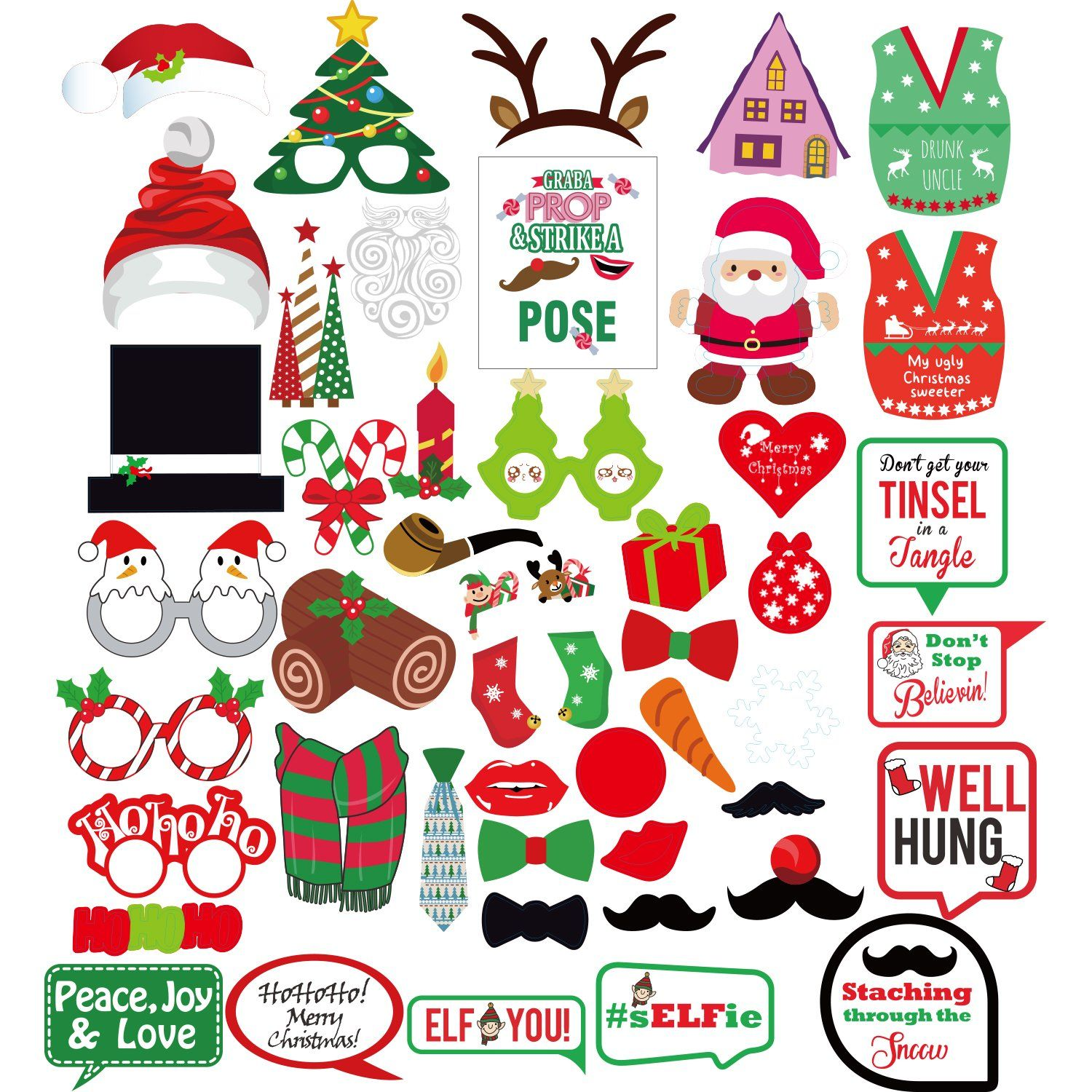 Christmas Booth Props Sign Kit for Funny Christmas Party