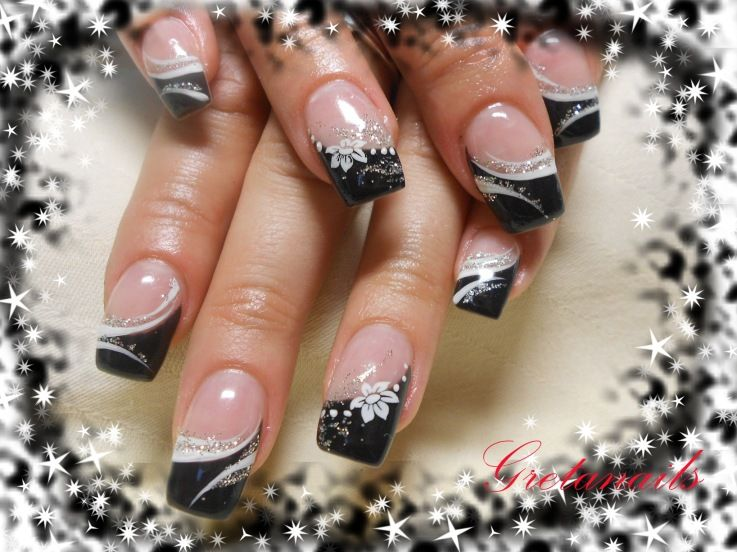 Nail Tip Designs Ideas french nails nailkartcom french tip nail designsfrench Cute Seasonal Black Tips Nail Art Nail Art Design From Coolnailsart